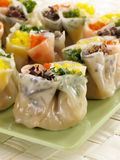 Fancy Siu Mai. This siu mai is specially wrapped to feature four colorful fillings: mushrooms, green onions, eggs, and red bell pepper Stock Photos