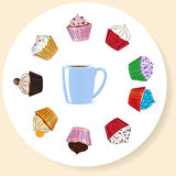 Fancy Sketchy Cupcakes background Stock Images