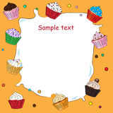 Fancy Sketchy Cupcakes background stock illustration