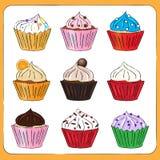Fancy Sketchy Cupcakes collection Stock Photos