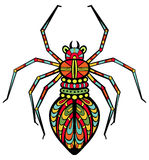 Fancy Spider. Fancy fantastic spider drawn in stained glass style. Body is isolated on white Stock Photos