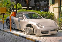 Free Fancy Sport Car Caught Fire & Burnt Down Just In Front Of The Guard House Entrance Stock Image - 145781891