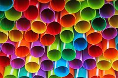 Fancy straw art background. Abstract wallpaper of colored fancy straws. Rainbow colored colorful pattern texture. Art royalty free stock images
