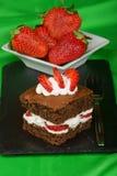 Fancy strawberry brownie Stock Photography