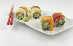 Fancy Sushi Roll. Sushi Roll with outside Tuna and Salmon Royalty Free Stock Photo
