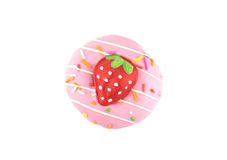 Fancy sweet strawberry doughnut or donut with sprinkles, isolated on white background Stock Photos