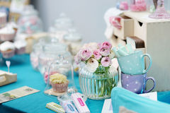 Fancy table set. Fancy blue and pink table set Royalty Free Stock Images