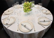 Fancy table set for a dinner Royalty Free Stock Image