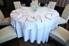 Fancy table set for a dinner. / party / wedding Royalty Free Stock Images