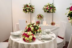 Fancy table set for a wedding. Dinner Royalty Free Stock Image