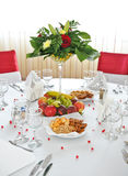 Fancy table set for a wedding celebration . Stock Photos