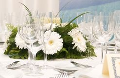 Fancy table set for a wedding celebration Royalty Free Stock Photos