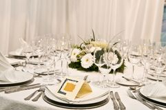 Fancy table set for a wedding celebration Stock Images