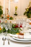 Fancy table set for a wedding celebration Royalty Free Stock Image