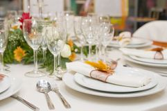 Fancy table set for a wedding celebration Royalty Free Stock Photo