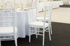 Fancy table set for a wedding dinner Royalty Free Stock Photo