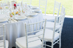 Fancy table set for a wedding dinner Stock Photography