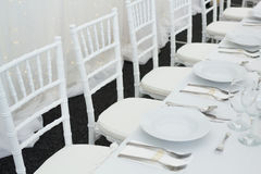 Fancy table set for a wedding dinner Stock Image