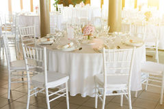 Fancy table set for a wedding Stock Photos