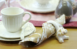 Fancy table setting. A closeup of a fancy, elegant table or tea setting Royalty Free Stock Image