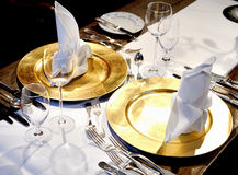 Fancy table settings. Fancy luxury table settings on dining table Stock Images