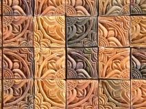 Fancy tiles close-up. Ornate pottery tiles Stock Photography