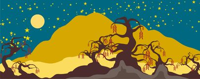 Fancy Tree Nightscape Background Royalty Free Stock Photography