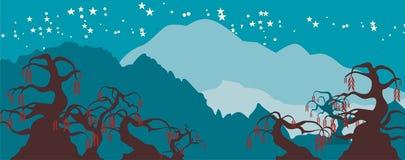Fancy Tree Nightscape Background Stock Photo