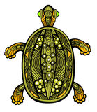 Fancy Turtle. Fancy funny turtle drawn in stained glass style. Body is isolated on white Royalty Free Stock Photos