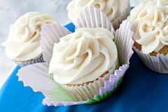 Fancy Vanilla Cupcakes. Close up of decadent gourmet cupcakes with vanilla frosting Royalty Free Stock Image