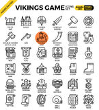 Fancy vikings game icons. Fancy vikings game concept detailed line icons set in modern line icon style concept for ui, ux, web, app design Stock Images