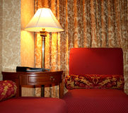 Fancy Vintage Hotel Décor Horizontal. The décor in the room of a fancy vintage hotel royalty free stock photography