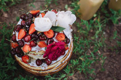 Fancy wedding fruit cake. Top view. Delicious fruit plate outdoors Stock Photography