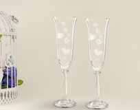 Fancy wedding goblets Stock Photos