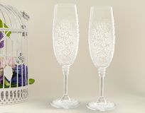 Fancy wedding goblets Stock Images