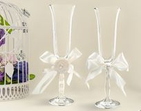 Fancy wedding goblets Stock Image