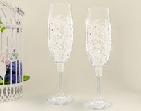 Fancy wedding goblets Royalty Free Stock Photo