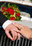 Fancy wedding hands. With shiny rings and red roses in the background Royalty Free Stock Photos