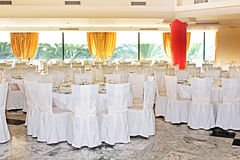 Fancy wedding reception area. Ready for guests and the party Royalty Free Stock Photo