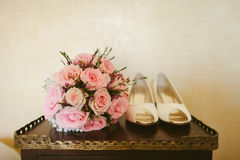 Fancy wedding shoes Stock Photos