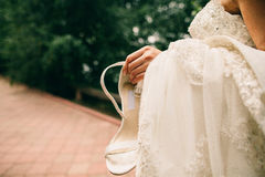 Fancy wedding shoes Royalty Free Stock Image