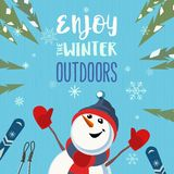 Fancy winter poster. Season motivation quote Enjoy winter outdoors.. Cute comic frosty snowman in sport hat with mountain skies. Colorful playful cartoon. Funny royalty free illustration