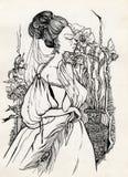 Fancy woman 18 century royalty free stock photo