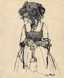 Fancy woman 19 century. Ink illustration stock illustration