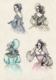 Fancy women 18 century. Ink illustration Stock Photos
