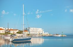 Fancy yacht in the harbor of a small town Postira - Croatia, isl. Fancy yacht in the harbor of a small town Postira - Croatia, Brac island Stock Image
