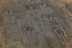 Fand menschliches skelton begrabenen Untergrund in Ayutthaya, Thailand Lizenzfreie Stockfotografie
