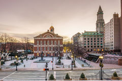 Faneuil Hall and the Boston skyline. Faneuil Hall and Quincy market in Boston USA royalty free stock photos