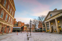 Faneuil Hall and the Boston skyline. Faneuil Hall and Quincy market in Boston USA stock photography