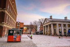 Faneuil Hall and the Boston skyline. Faneuil Hall and Quincy market in Boston USA royalty free stock photo
